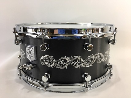 Hand Engraved Black Anodized snare drum